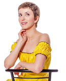 Woman thinking looking up Royalty Free Stock Images
