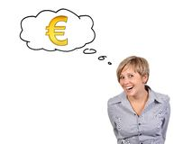Woman thinking about money Royalty Free Stock Images