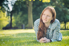 Woman Thinking in a Park Royalty Free Stock Images