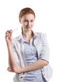 Woman thinking with a pen Royalty Free Stock Photography