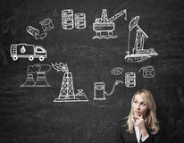 Woman thinking about petrol production and pollution Stock Image