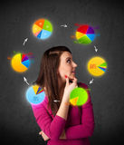 woman thinking with pie charts circulation around her head Stock Photo