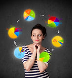 Woman thinking with pie charts Stock Photos