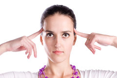 Woman in thinking pose portrait Royalty Free Stock Image