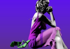Woman thinking. A woman in a purple dress and with gray hair sitting next to green shoes and thinking, over a blue background, 3D illustration, raster Royalty Free Stock Image