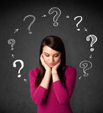 Woman thinking with question Royalty Free Stock Photography