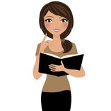 Woman thinking and reading vector illustration