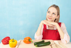 Woman thinking of recipe Stock Photos