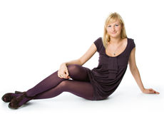 Woman thinking in a relaxed pose Royalty Free Stock Photos