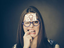Woman thinking seeks a solution Royalty Free Stock Photo