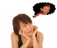 Woman thinking about sexy man Royalty Free Stock Photography