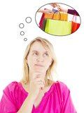 Woman thinking about shopping Royalty Free Stock Images