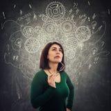 Woman thinking stock illustration