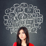Woman thinking, social media concept Stock Images