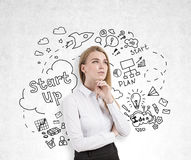 Woman thinking about startups. Pensive european woman on concrete background with creative business sketch. She is thinking about startups stock image