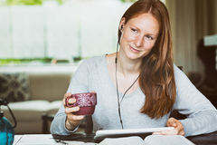 Woman Thinking While Studying the Bible Stock Photos