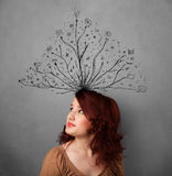 woman thinking with tangled lines coming out of her head Royalty Free Stock Images