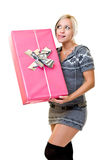 Woman thinking, what is in my present? Stock Image
