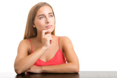 Woman Thinking. In a white background Royalty Free Stock Photos