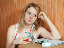 Woman thinks about the financial problems Royalty Free Stock Photography