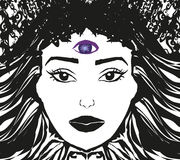 Woman with third eye. Psychic supernatural senses Stock Image