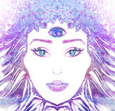 Woman with third eye Royalty Free Stock Photos
