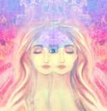 Woman with third eye Royalty Free Stock Photography