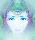 Woman with third eye Stock Images