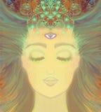 Woman with third eye, psychic supernatural senses. Illustration royalty free illustration