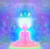 Woman with third eye, psychic supernatural senses. Illustration vector illustration