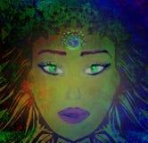Woman with third eye, psychic supernatural senses. Raster Illustration royalty free illustration