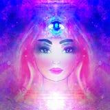 Woman with third eye, psychic supernatural senses. Raster Illustration vector illustration