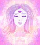 Woman with third eye, psychic supernatural senses. Raster illustration stock illustration