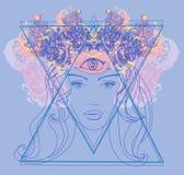 Woman with third eye, psychic supernatural senses. Vector Illustration royalty free illustration
