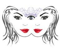 Woman with third eye, psychic supernatural senses. Vector Illustration vector illustration