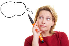 Woman with thought bubble Stock Photo