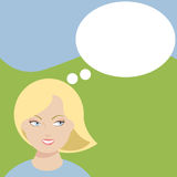 Woman with thought bubble Royalty Free Stock Photography