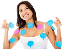 Woman with thought bubbles Royalty Free Stock Photos