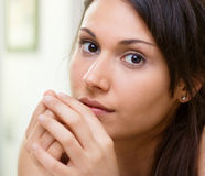 Woman with thoughtful attitude royalty free stock photo