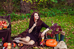 Woman with a thoughtful look in autumn park Stock Images