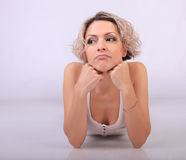 Woman thoughtful Royalty Free Stock Photography