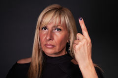 Woman threatening with her finger Royalty Free Stock Images