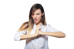 Woman threatens with a fist Stock Photography