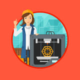 Woman with three D printer. Royalty Free Stock Image