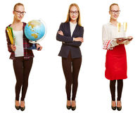 Woman in three different jobs. As teacher, businesswoman and waiter Stock Photo