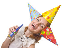 Woman in three party hats Royalty Free Stock Images