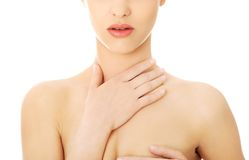 Woman with a throat pain Royalty Free Stock Image