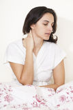 Woman with throat problems Royalty Free Stock Photos