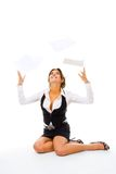 Woman throw away papers Royalty Free Stock Photos