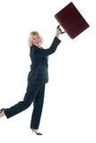 Woman Throwing Briefcase Stock Photos